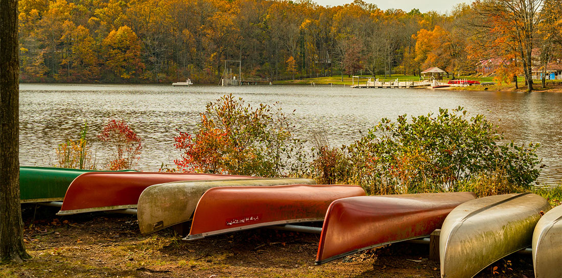 canoes lining a lake in the fall
